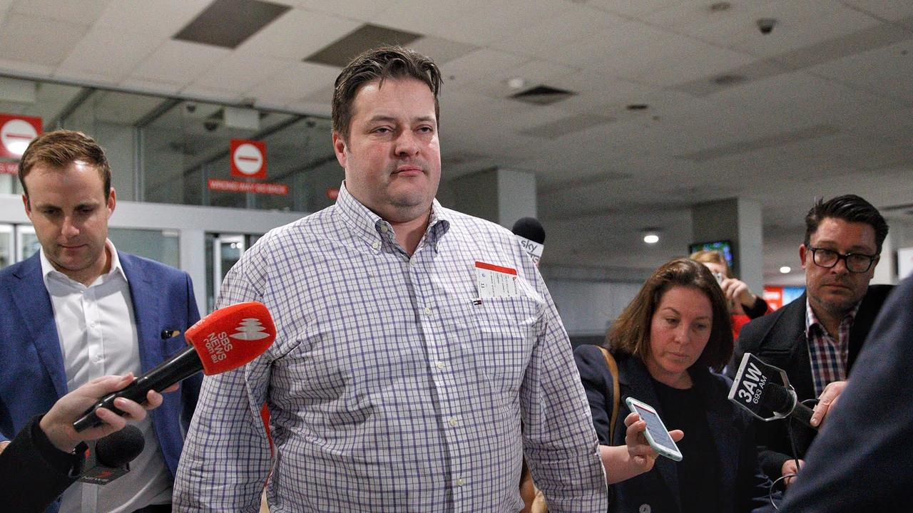 State MP Will Fowles after speaking to the media at Melbourne Airport. Picture: Mark Stewart