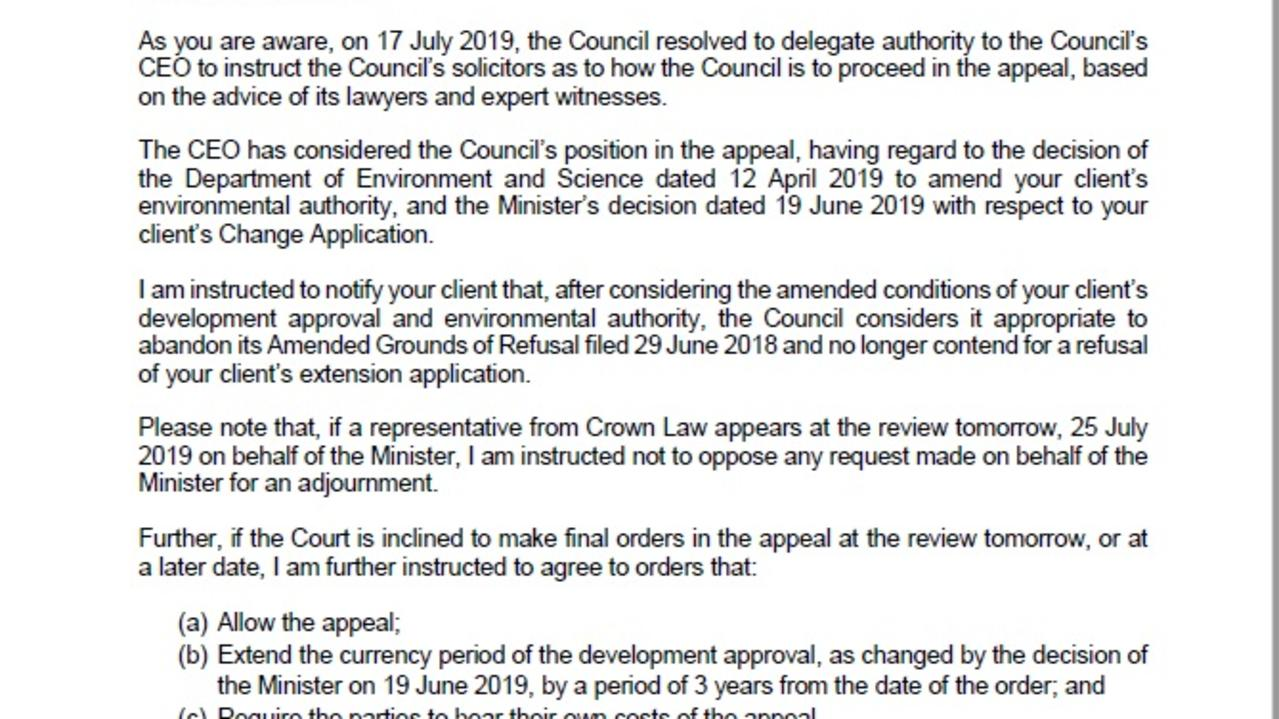 An excerpt of the Redland City Council letter dated July 24, 2019.