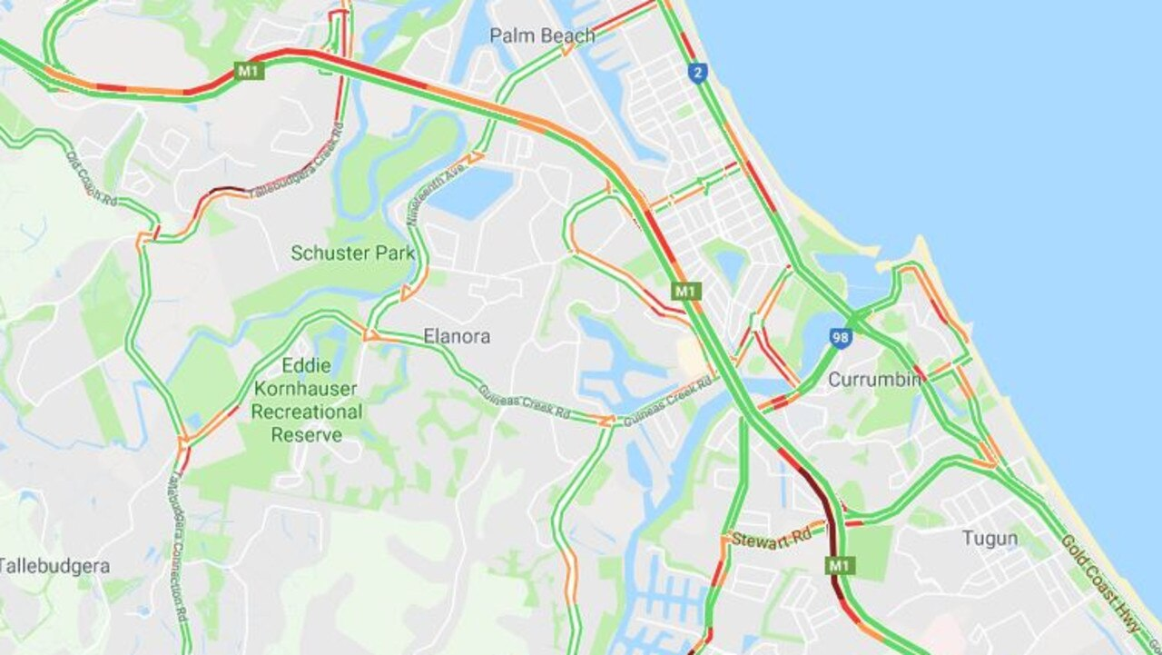 Traffic on the M1 this morning after two cars collided while heading northbound.