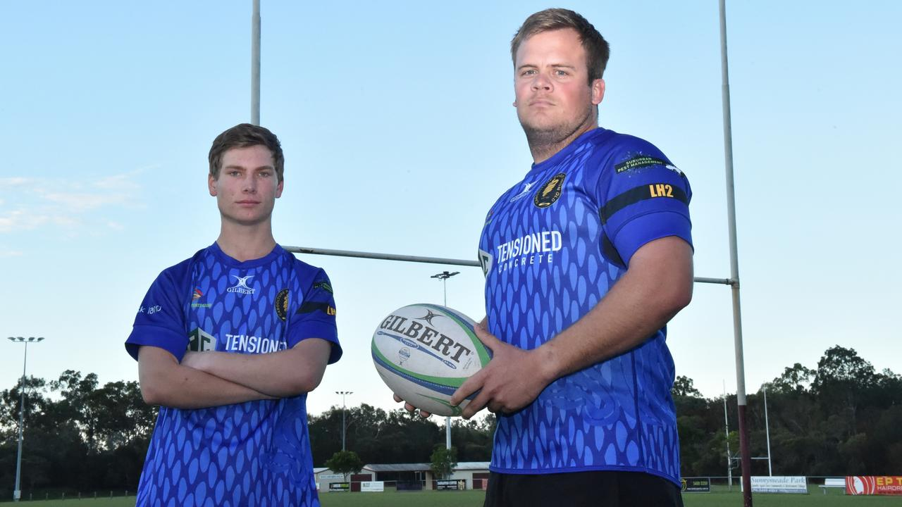 Caboolture Snakes Rugby Union A Grade men's captain and coach John Flew (right) and Sam Hoffman (left) sporting a tribute jersey for the late Luke Howard. Photo: Luke Simmonds.