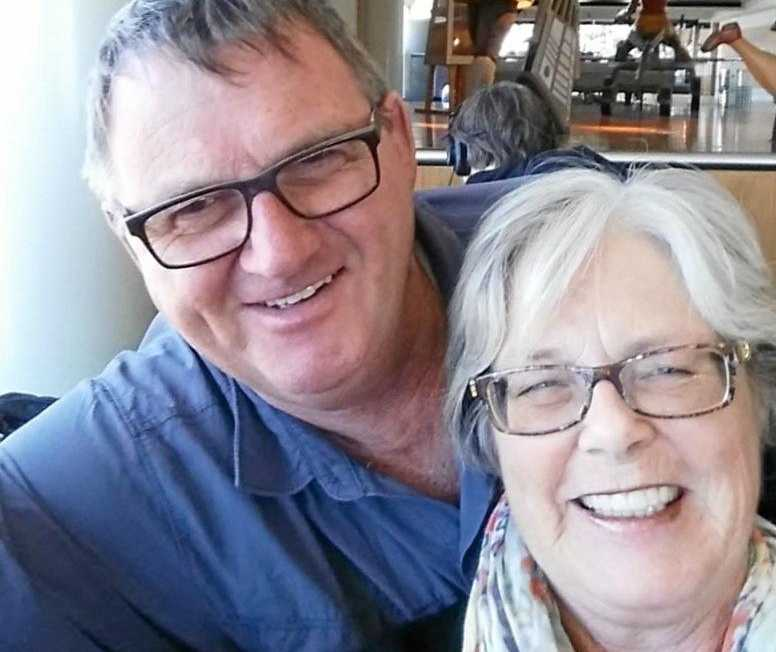 SENIOR TRAVEL: Retirees Allan and Evelyn Mollins at the airport, ready to take off on their next overseas adventure.