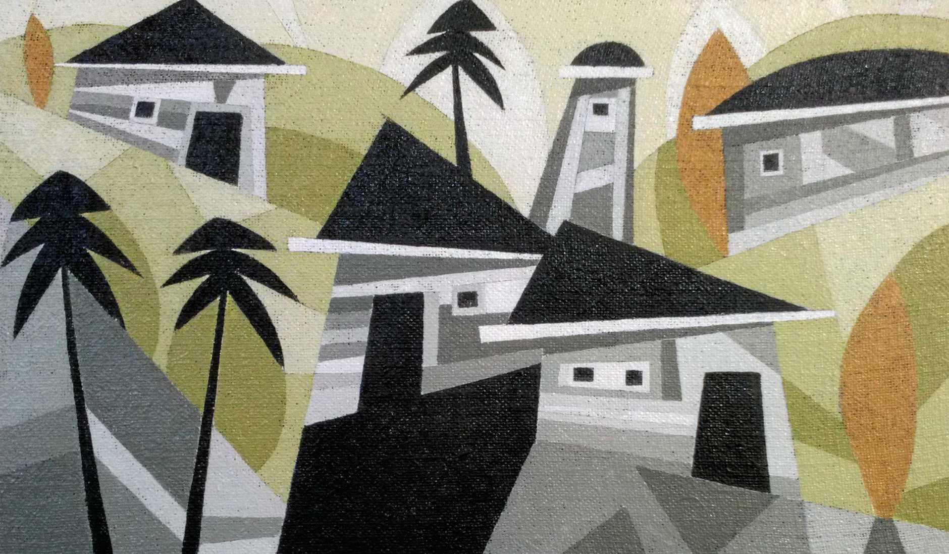At Stevens Street Gallery, Yandina, is Rindi Salomon's Blue Sea Grey Sky.