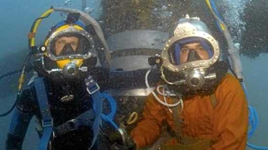 Ryan Springall and Mark Veal of ABCO Commercial Diving at home in their workplace.