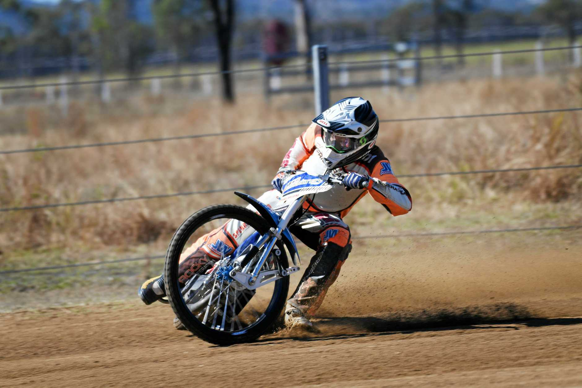 TOP SPEED: Rockhampton's Scott Warwick-Day tears up the track during a training session in preparation for the weekend's Handlebar Heroes.