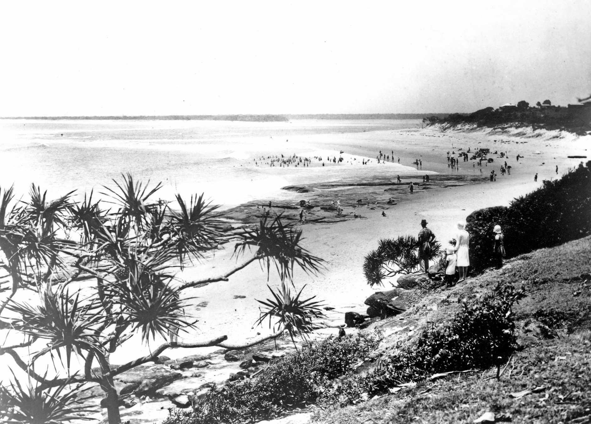 The view of Kings Beach, Caloundra, ca 1920.
