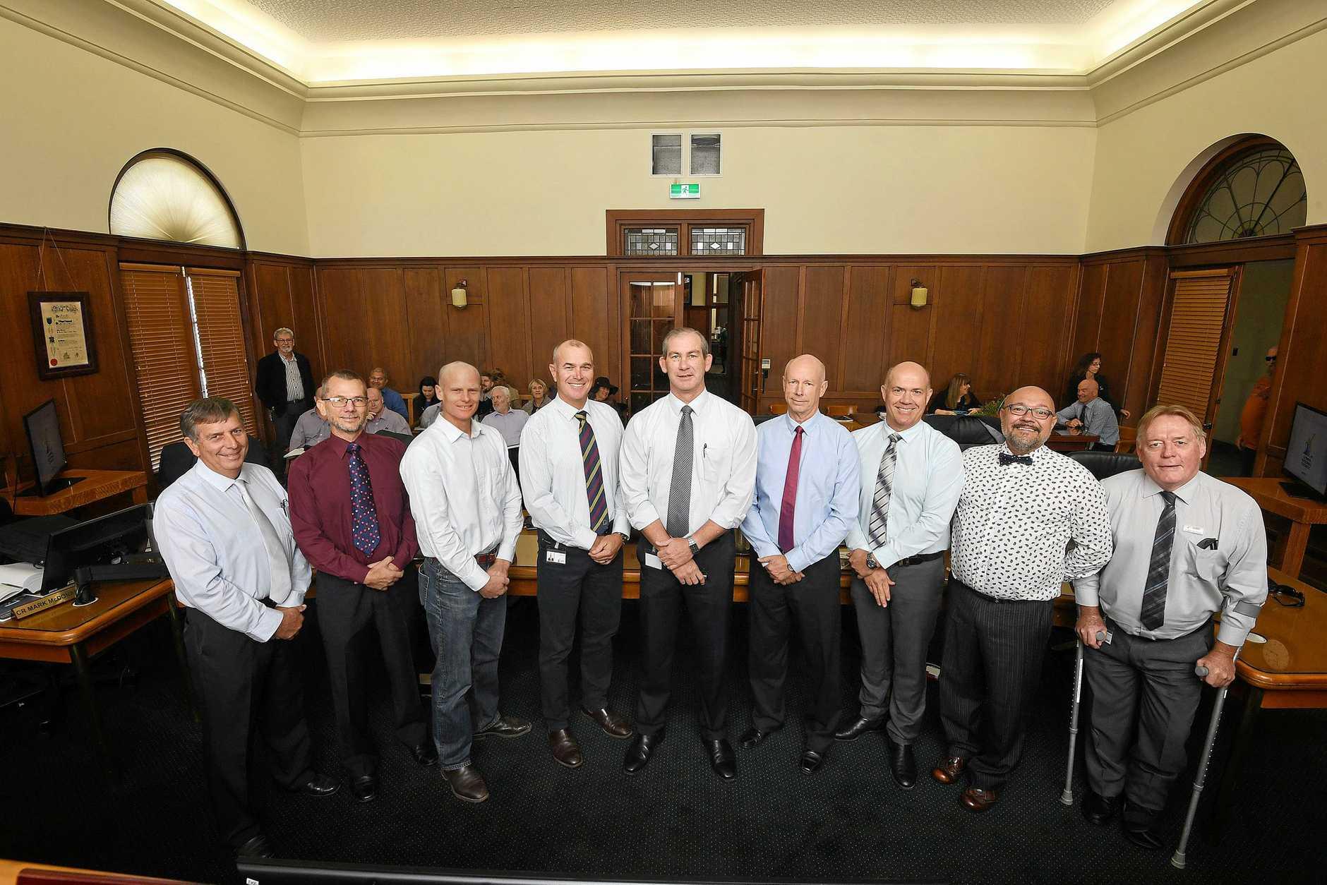 Gympie Council 2018 Hilary Smerdon, Dan Stewart, Glen Hartwig, Bob Leitch, Mick Curran, Bob Fredman, Mal Gear, Daryl Dodt and Mark McDonald.