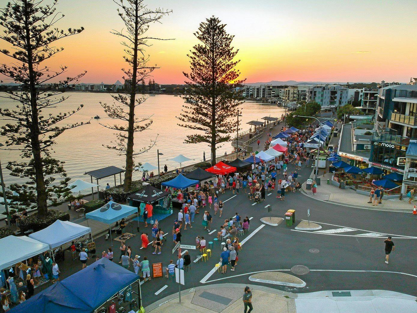 The Twilight Markets Caloundra along Bulcock Beach Esplanade.