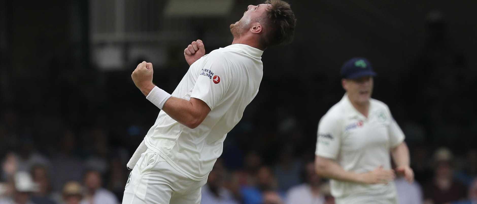Ireland's Mark Adair celebrates taking the wicket of England's Jonny Bairstow.