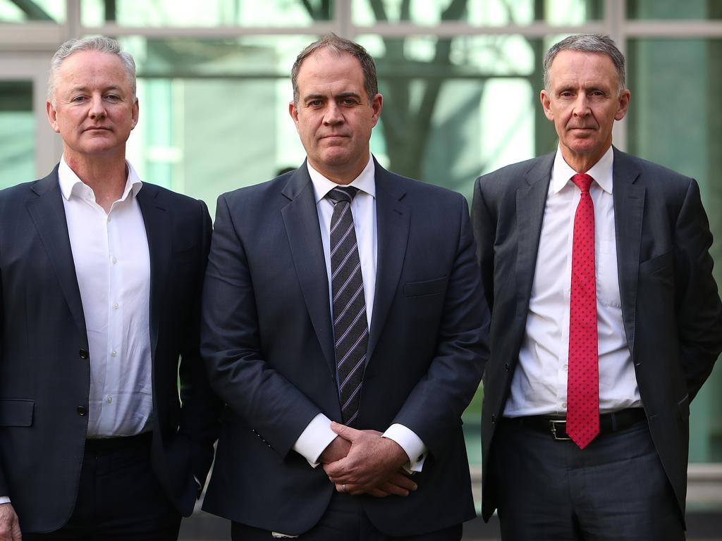 Nine CEO Hugh Marks, ABC Managing Director David Anderson and Campbell Reid, Group Executive - Corporate Affairs, Policy and Government Relations for News Corp Australia, FOX SPORTS & Foxtel after meeting with Attorney General Christian Porter about their calls for reform in the media industry. Picture Kym Smith
