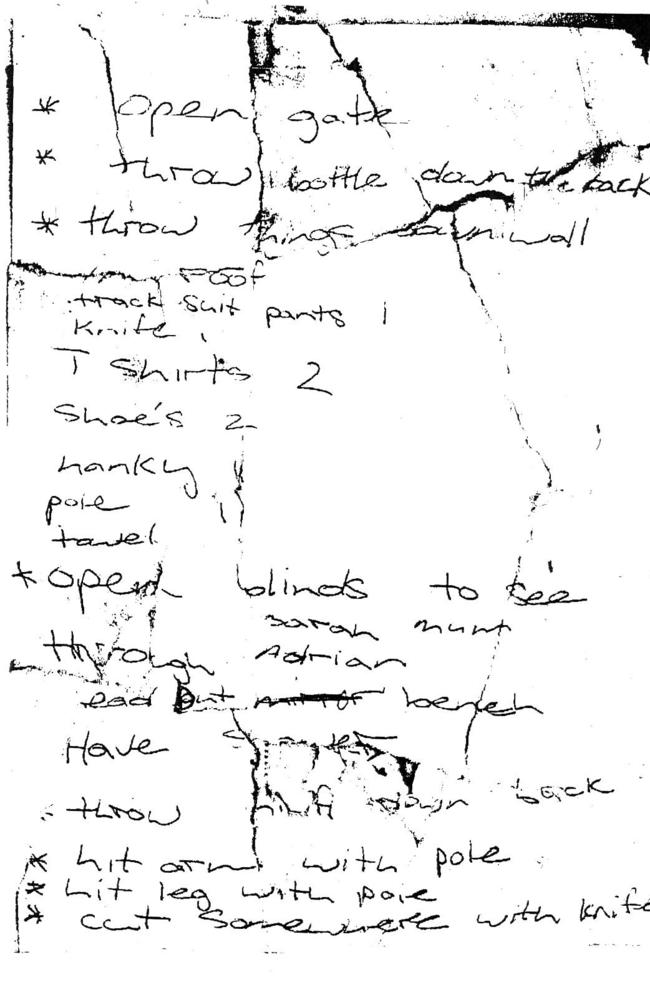 A handwritten note by De Gruchy used as evidence in his trial.