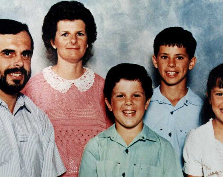 Matthew De Gruchy (blue) pictured with his family — dad Wayne, mum Jennie, siblings Adrian and Sarah — before the killings took place.
