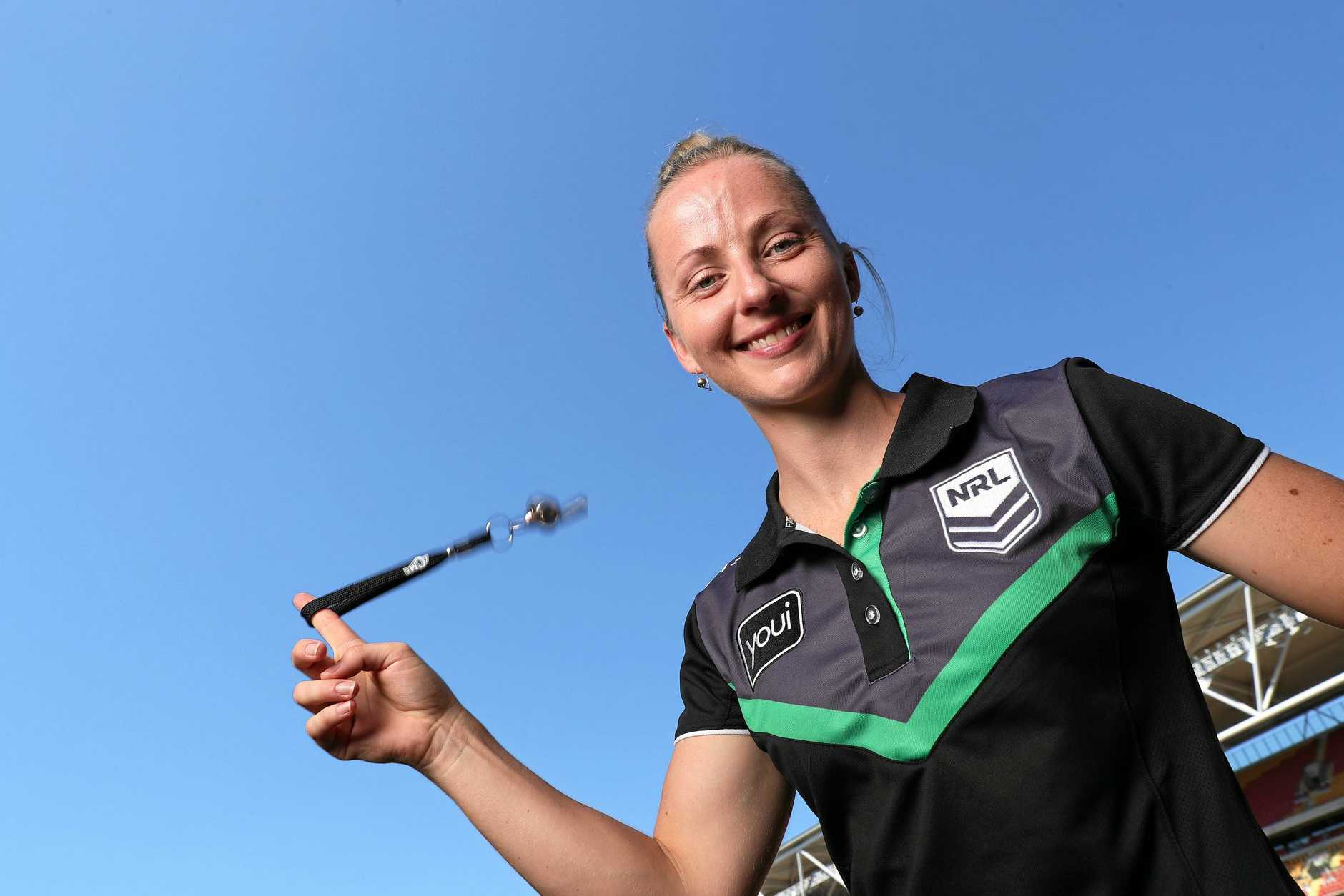 NRL ref Belinda Sleeman will be in charge of her first mens NRL game this weekend, Suncorp Stadium, Milton. Photographer: Liam Kidston.