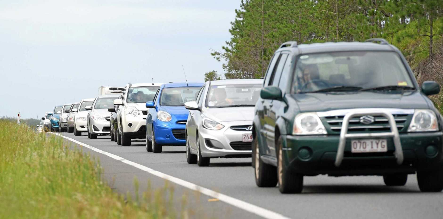 FILE PHOTO: Traffic is blocked on the southbound lanes of the Bruce Highway after a multi-vehicle crash at Beerburrum.