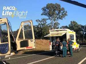 RACQ LifeFlight Rescue chopper attends single-vehicle crash