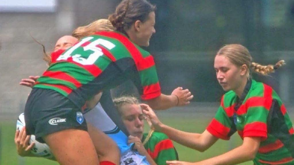 Sarah Marschke (bottom) playing club NRL in Sydney