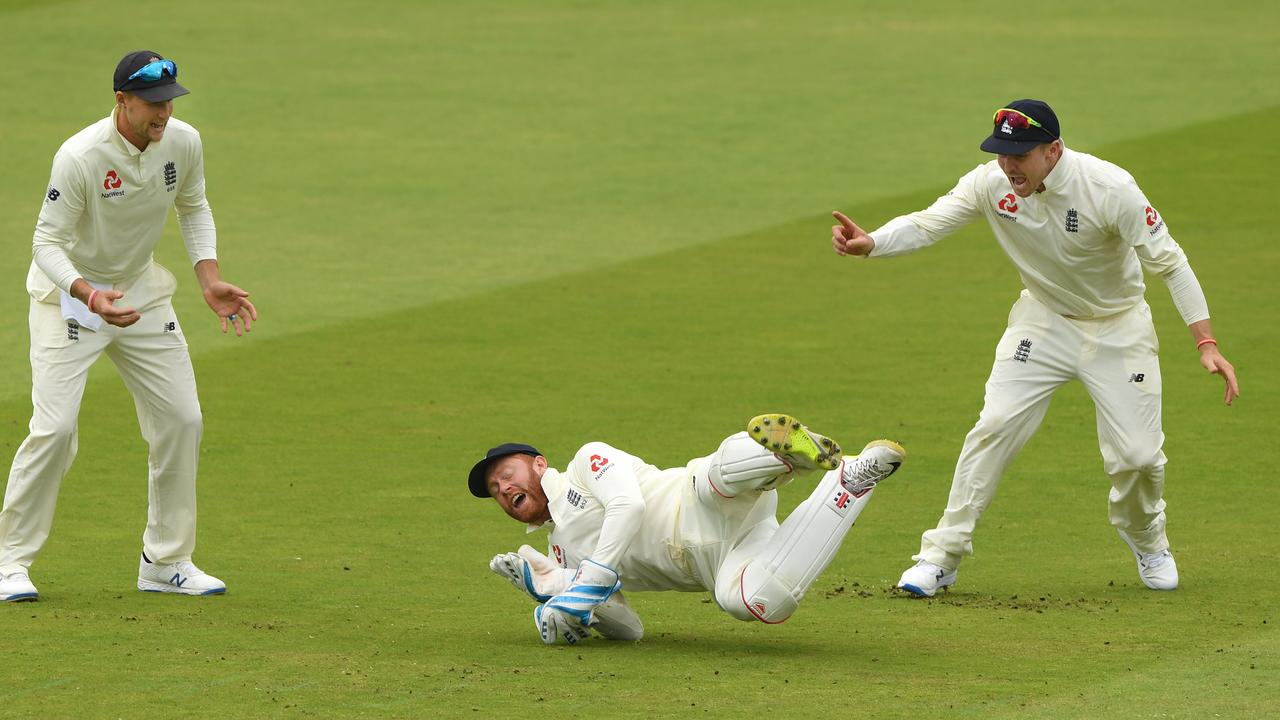 England wicketkeeper Jonny Bairstow catches William Porterfield. Picture: Stu Forster/Getty Images