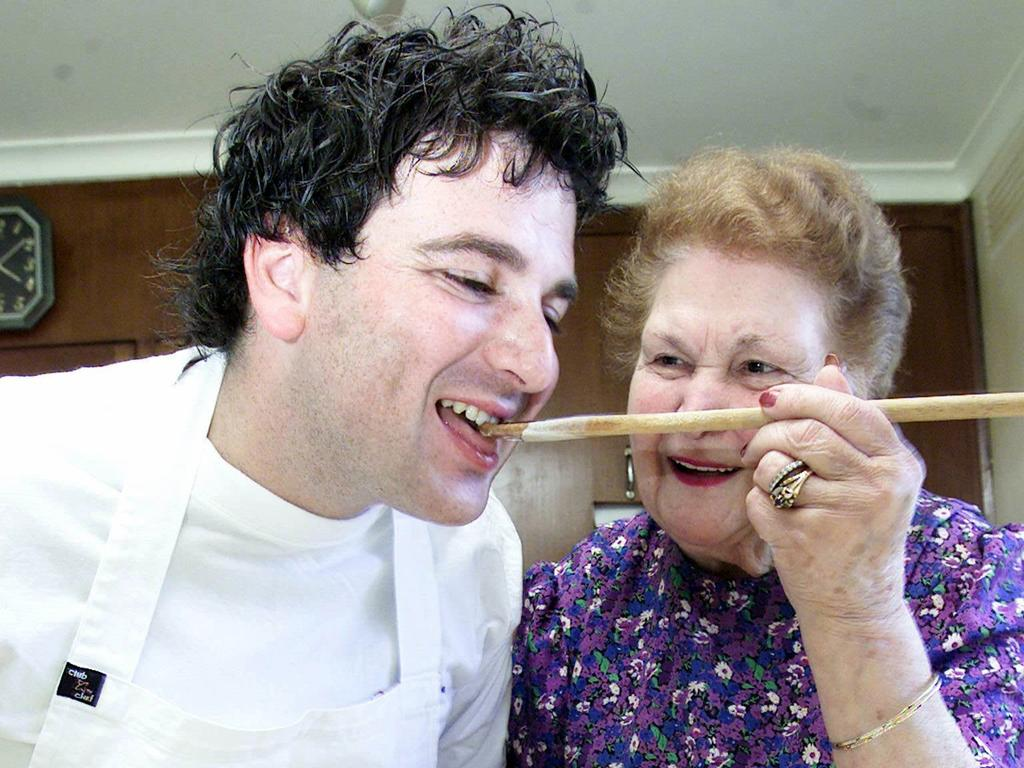 George Calombaris with his grandmother, who along with his mum instilled in him a love of cooking from an early age.