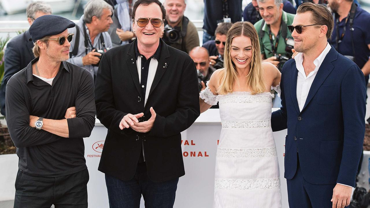 Robbie at Cannes Film Festival with (from left) Brad Pitt, Quentin Tarantino and Leonardo DiCaprio. Picture: Getty