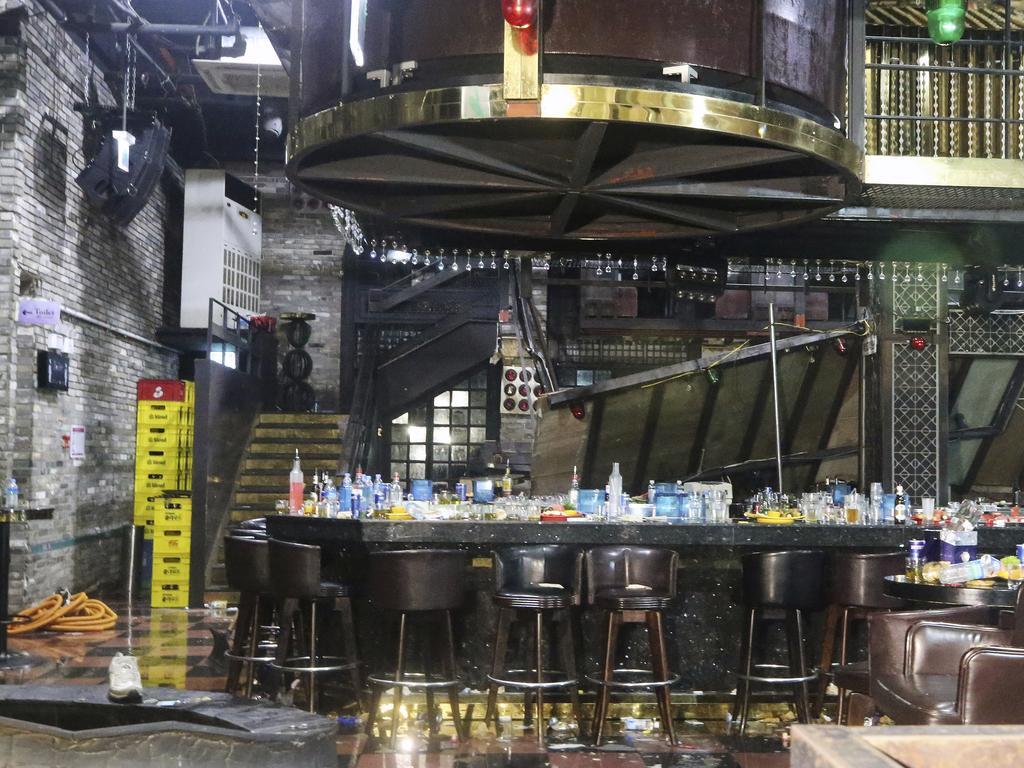The collapsed internal balcony at the nightclub in Gwangju.