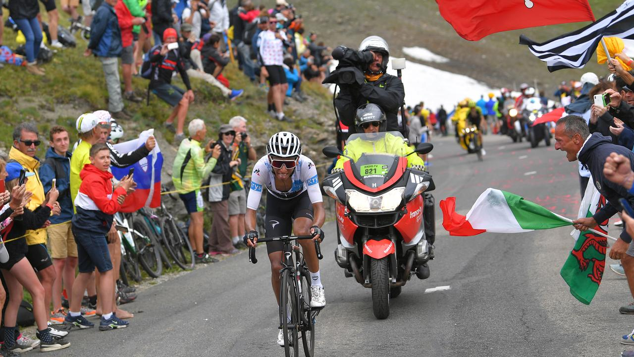 Egal Bernal would finish the day with the yellow jersey. Picture: Tim de Waele/Getty Images