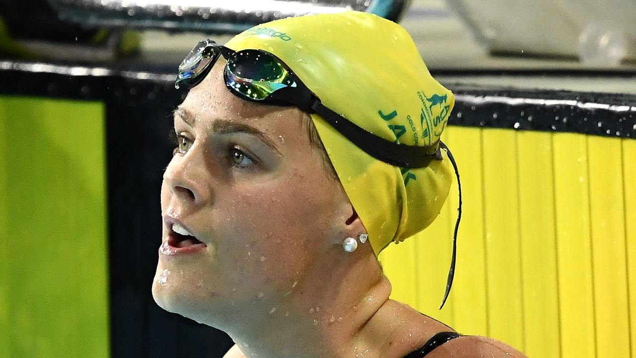 GOLD COAST, AUSTRALIA - APRIL 06: Shayna Jack of Australia looks on following the Women's 50m Freestyle Semifinal 1 on day two of the Gold Coast 2018 Commonwealth Games at Optus Aquatic Centre on April 6, 2018 on the Gold Coast, Australia. (Photo by Quinn Rooney/Getty Images)