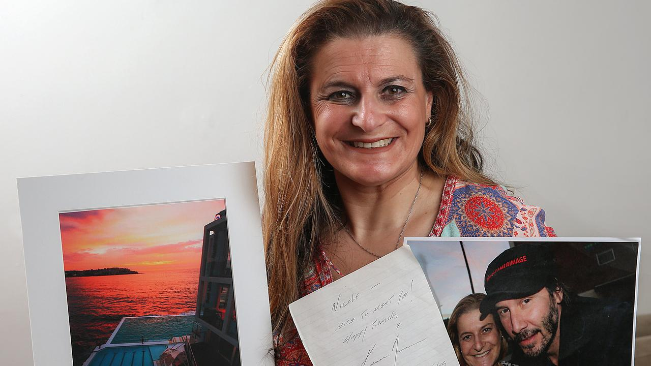 Nicole Lewis-Jacobs got a photo and an autograph from Keanu Reeves and now wants to send him some artwork of Bondi Beach. Picture: Ian Currie