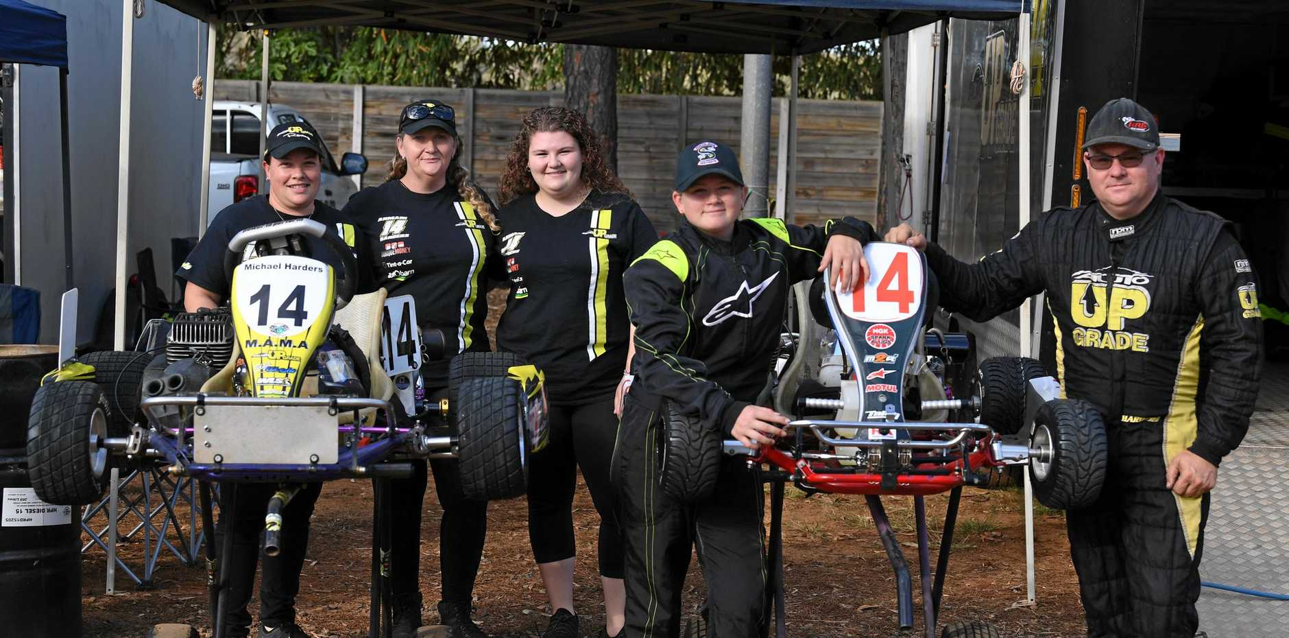 Back: Natalie Wright, Angie Harders, Mackayla Harders supporting Armani and Michael Harders at the karts in Maryborough.