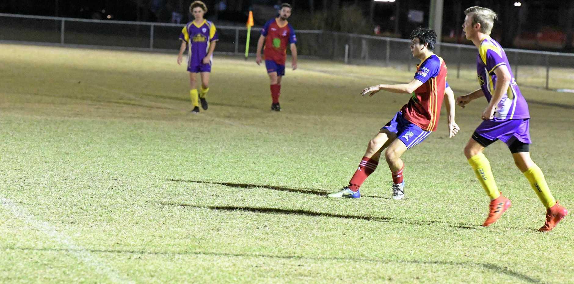 GOOD SHOT: Joshua Advaney watches his shot head towards the goal.