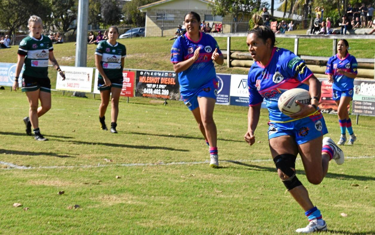 TRY TIME: Sophia Fisher scores a try underneath the posts.