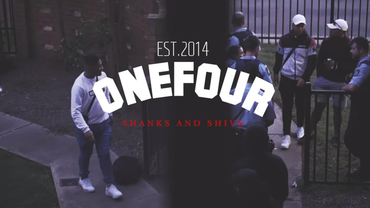 OneFour released the track Shanks and Shivs where they rap about stabbing people. Picture: YouTube