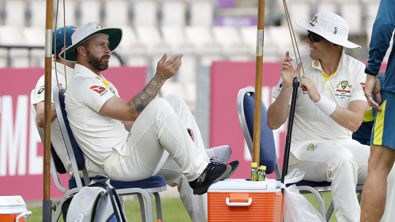(L-R) Matthew Wade and Peter Siddle look on during day three of the Australian Cricket Team Ashes Tour match. Picture: Ryan Pierse/Getty Images
