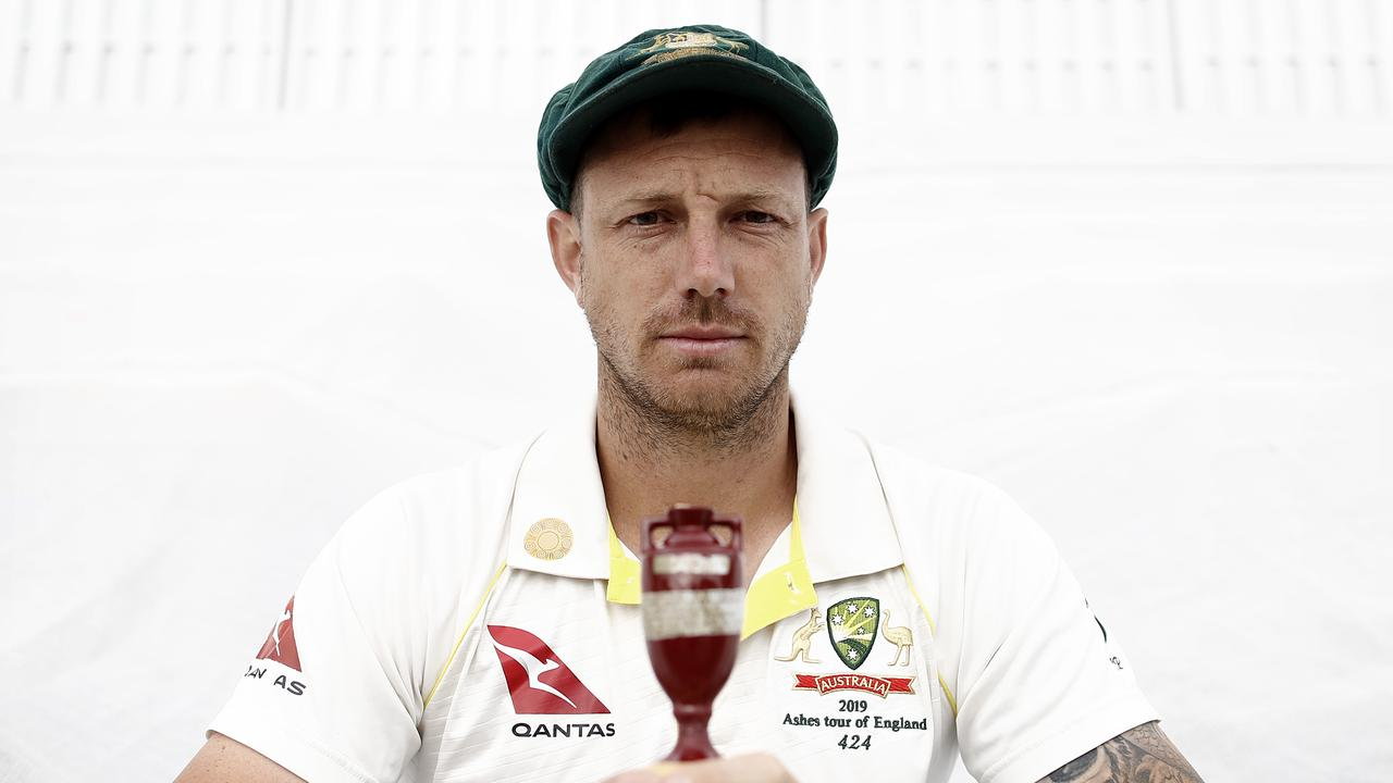 James Pattinson holds a replica of the Ashes urn after he was named in the Australian squad for the series. Picture: Getty Images