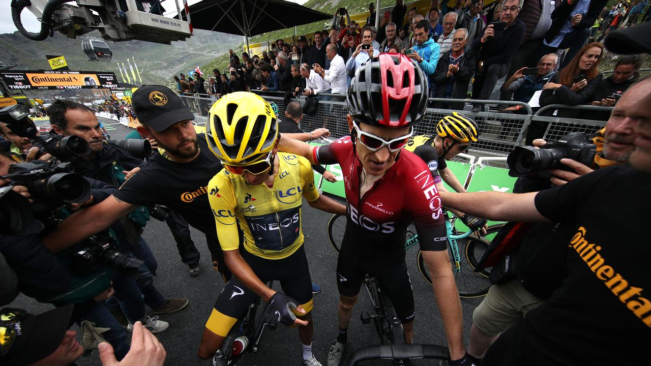 Egan Bernal is congratulated by teammate Geraint Thomas in Val Thorens. Picture: Chris Graythen/Getty Images