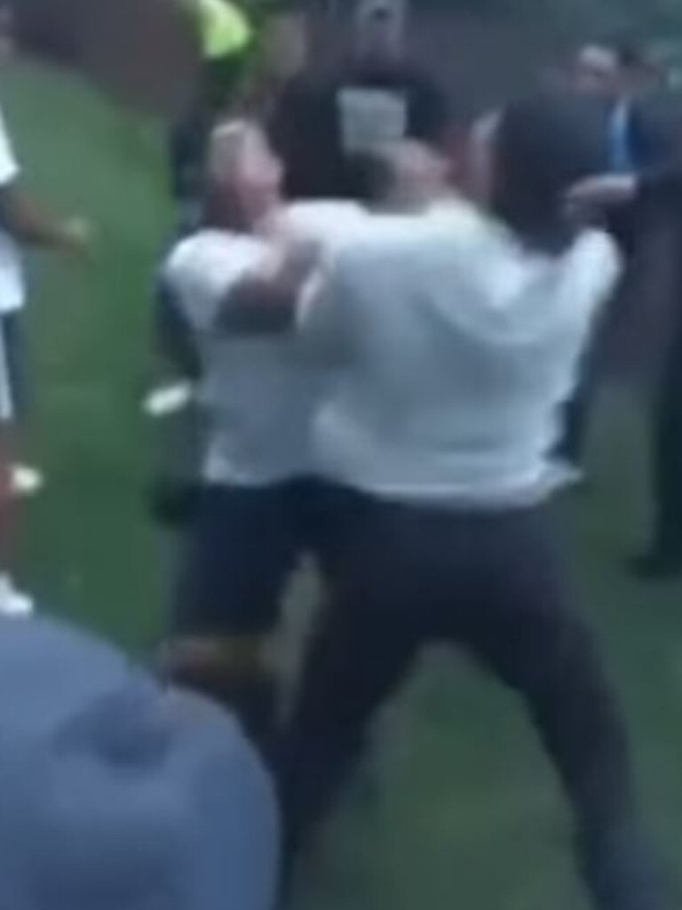 Screen grabs from a brawl posted to YouTube.