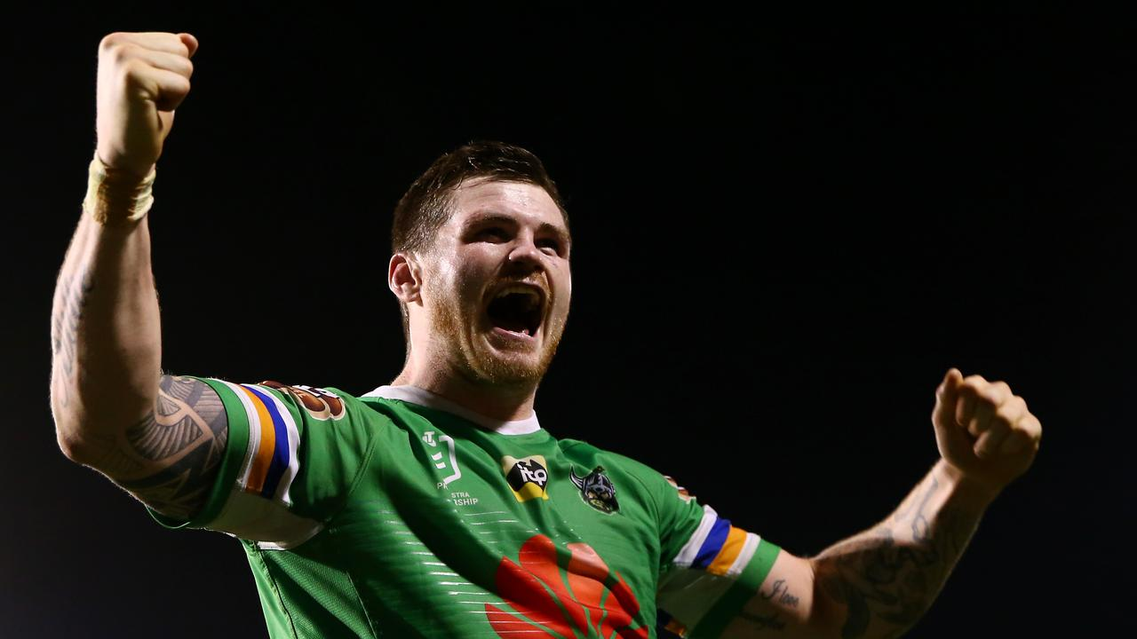 John Bateman celebrates Canberra's victory against Penrith. Picture: Getty Images