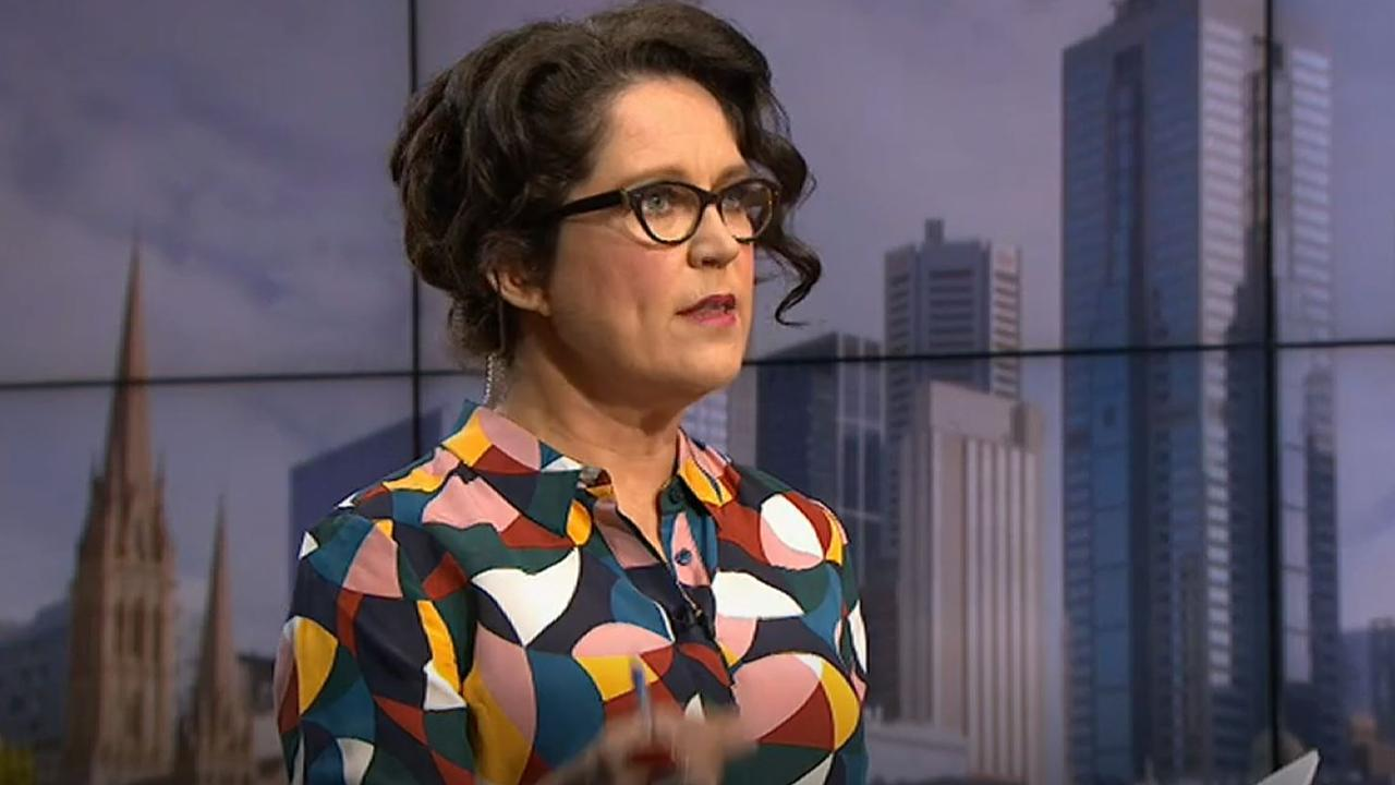 Annabel Crabbe grilling Paul Fletcher on Insiders. Picture: ABC