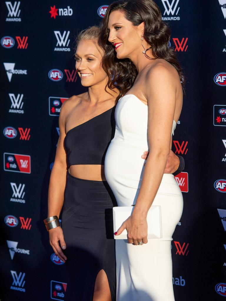 Erin Phillips pictured with pregnant wife Tracy Gahan at the AFLW Awards in April. Picture: JASON EDWARDS