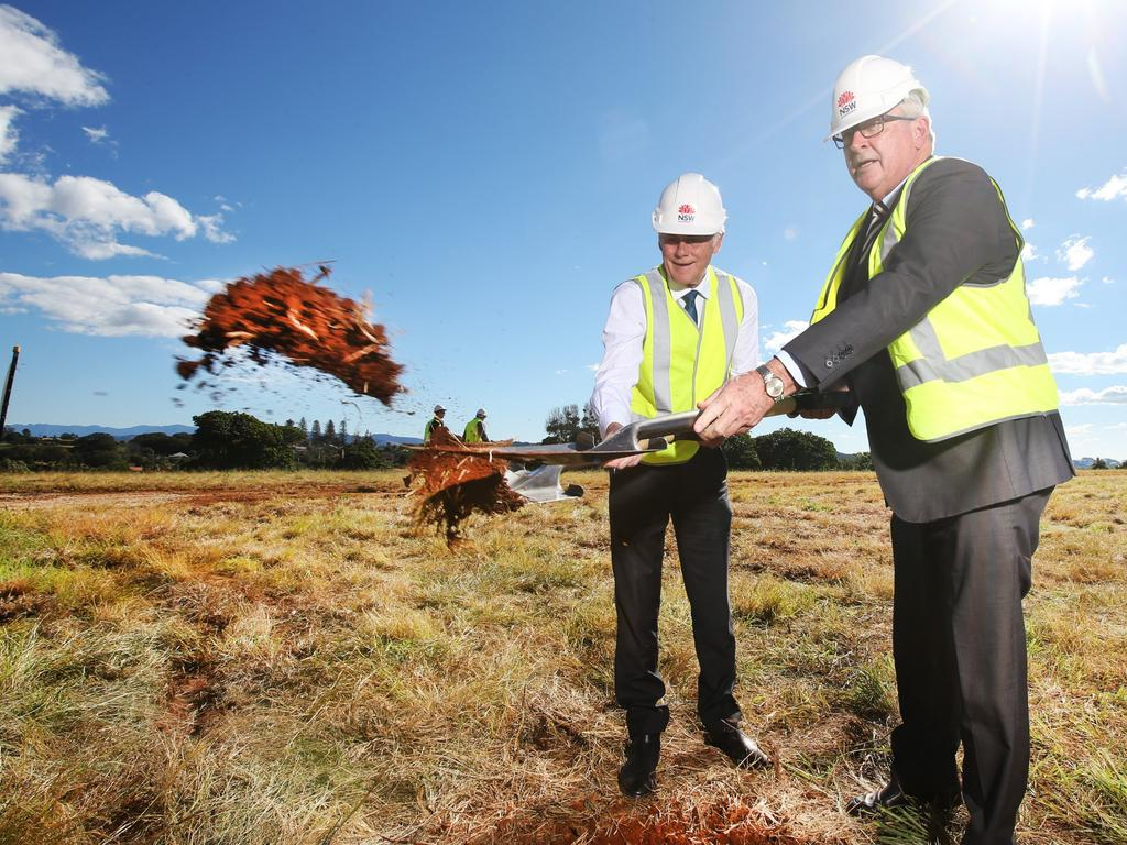 NSW Health Minister Brad Hazzard with Tweed MP Geoff Provest at the sod-turning at the new Tweed Valley Hospital site at Cudgen. Picture: Scott Powick