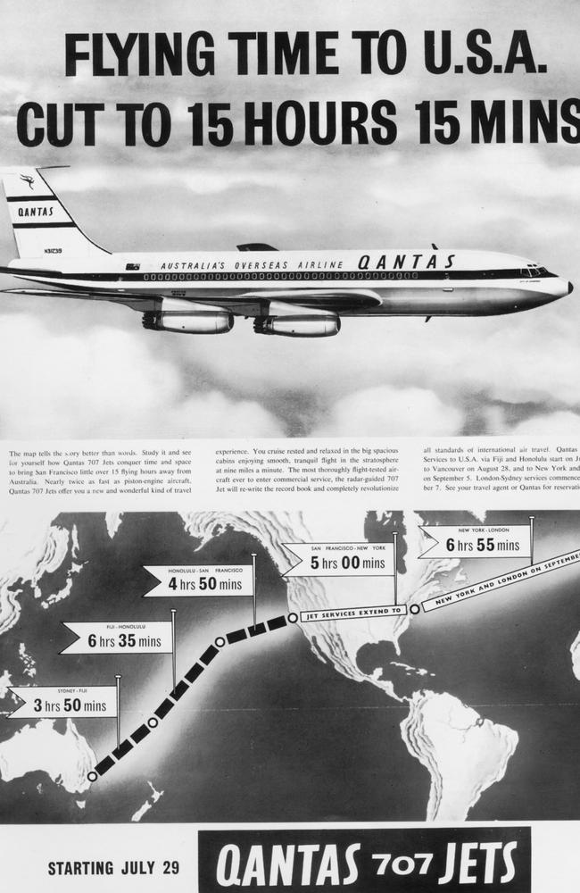 A 1959 advertisement for the first Qantas international jet service. Picture: Qantas