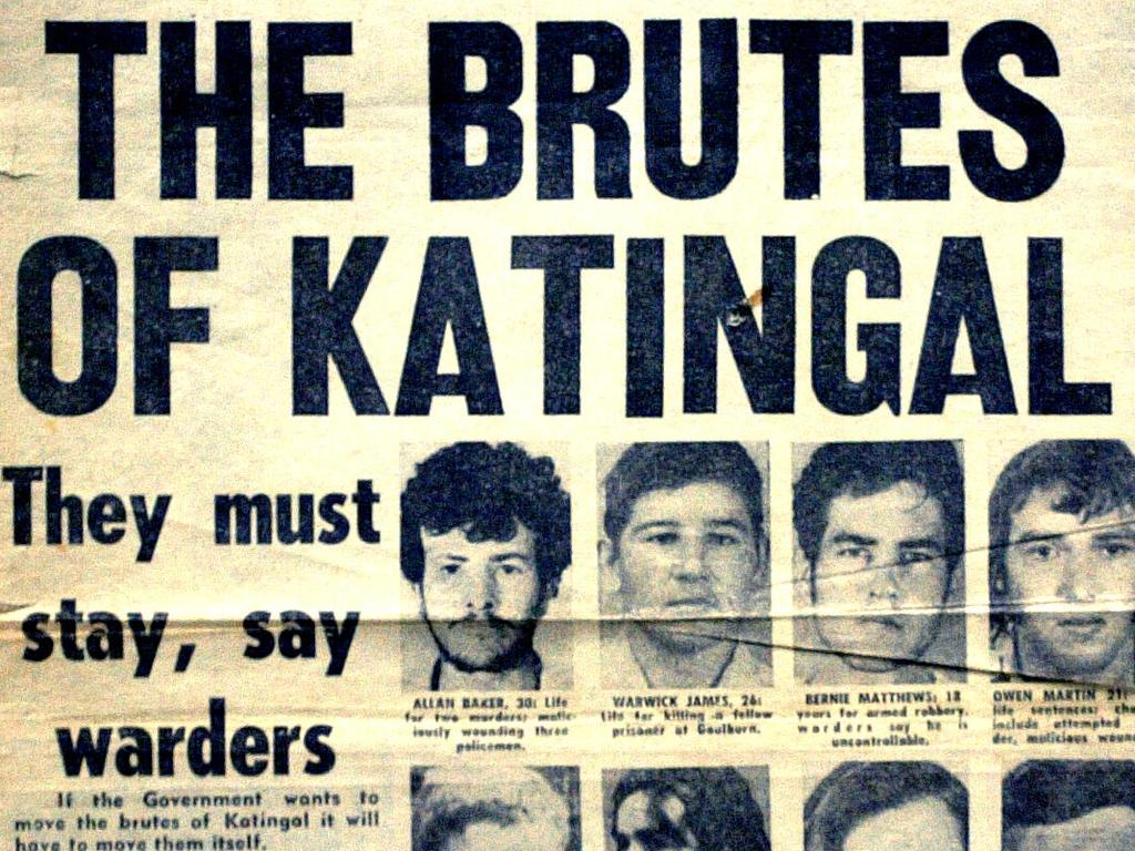 Bernie Matthews features (third mugshot from left) in a newspaper article on the notorious Katingal jail. File picture