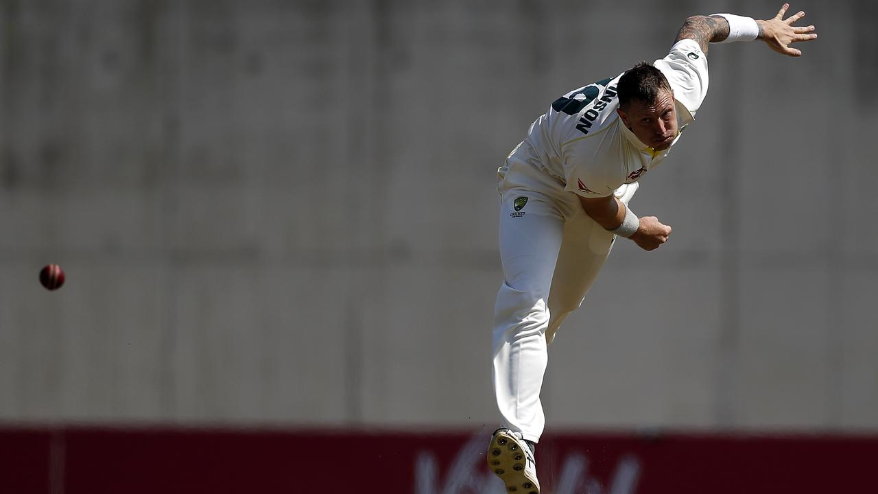 Pattinson sends one down in the all-Australian Ashes warm-up game in Southampton. Picture: Getty Images