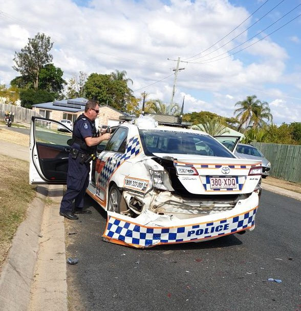 Gatton police are looking for two men who rammed officers with a stolen Colorado ute, Sunday.