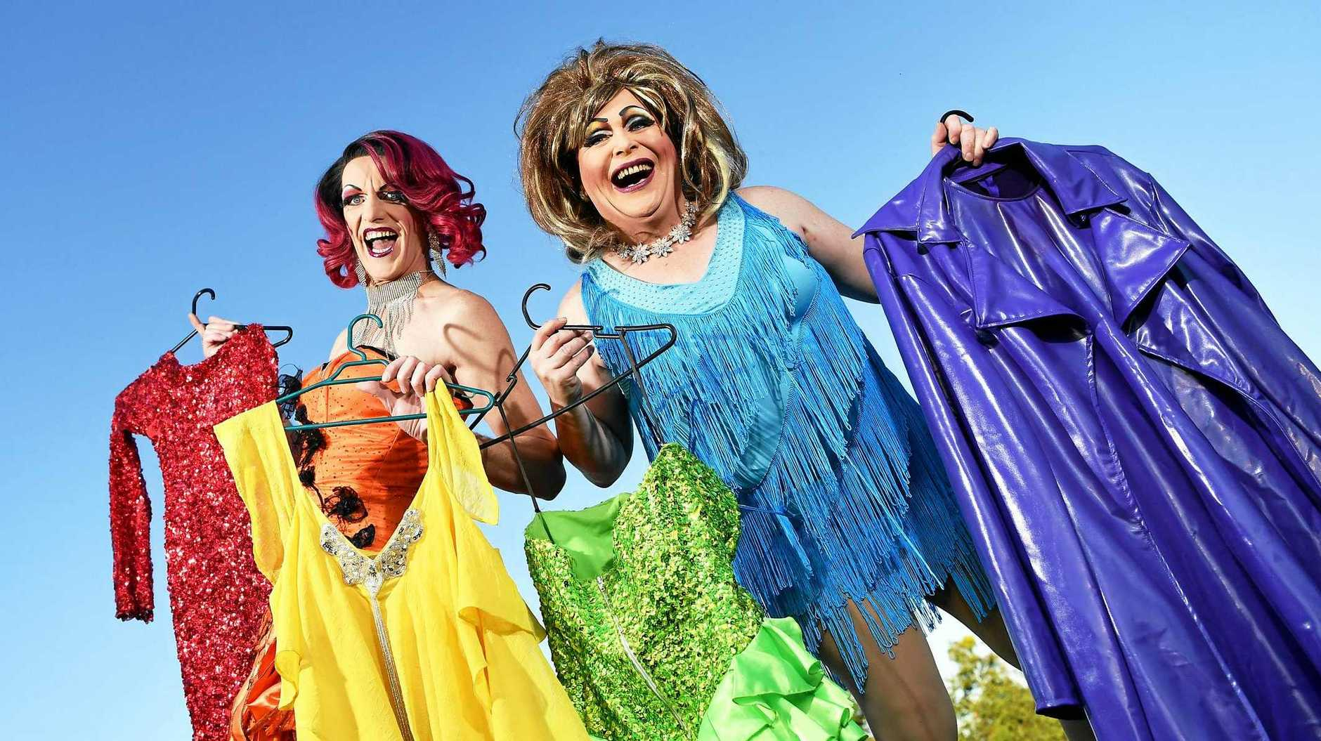 Drag queens Melony Brests and Sall Monalla.