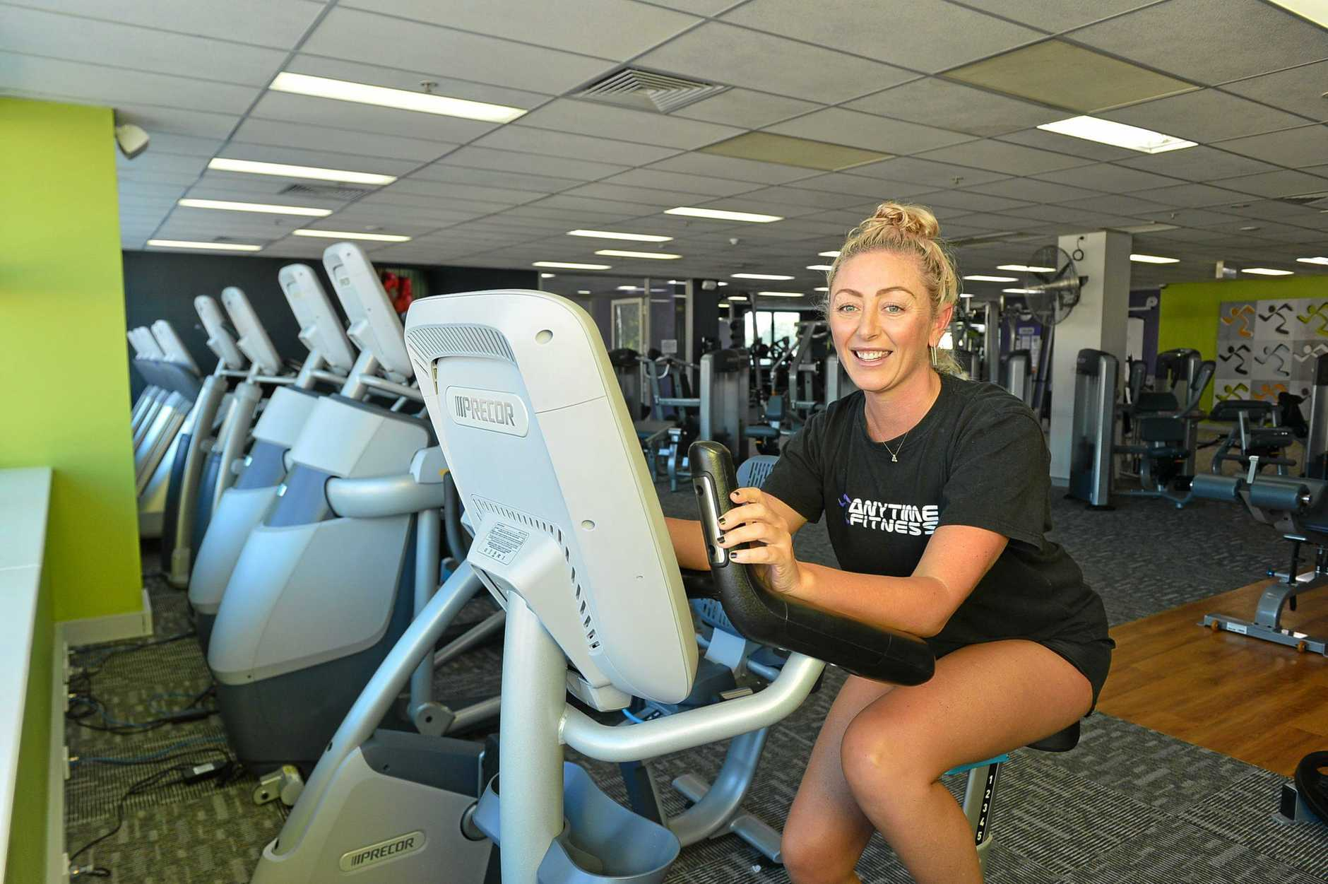 Larissa Petersen during her cardio workout at Anytime Fitness, Gympie.