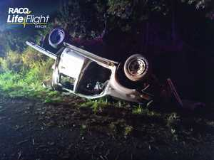 Woman in serious condition after crash on hinterland road
