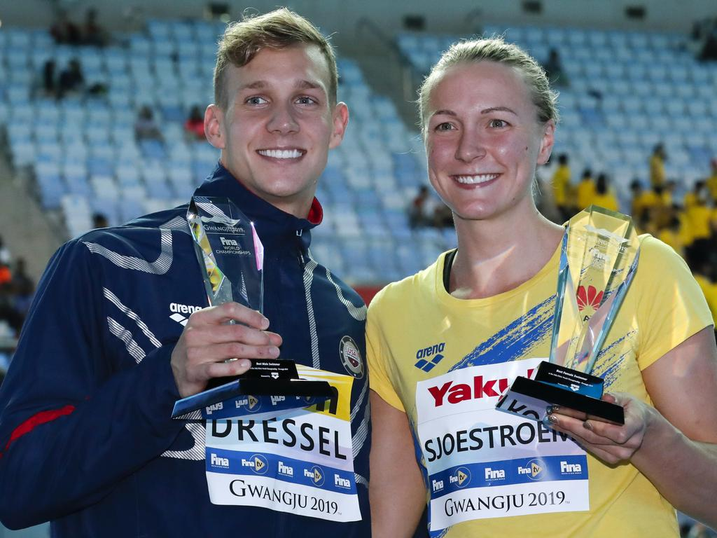 United States' Caeleb Dressel and Sweden's Sarah Sjsotrom were named top male and female swimmers at the World Swimming Championships. (AP Photo/Lee Jin-man)