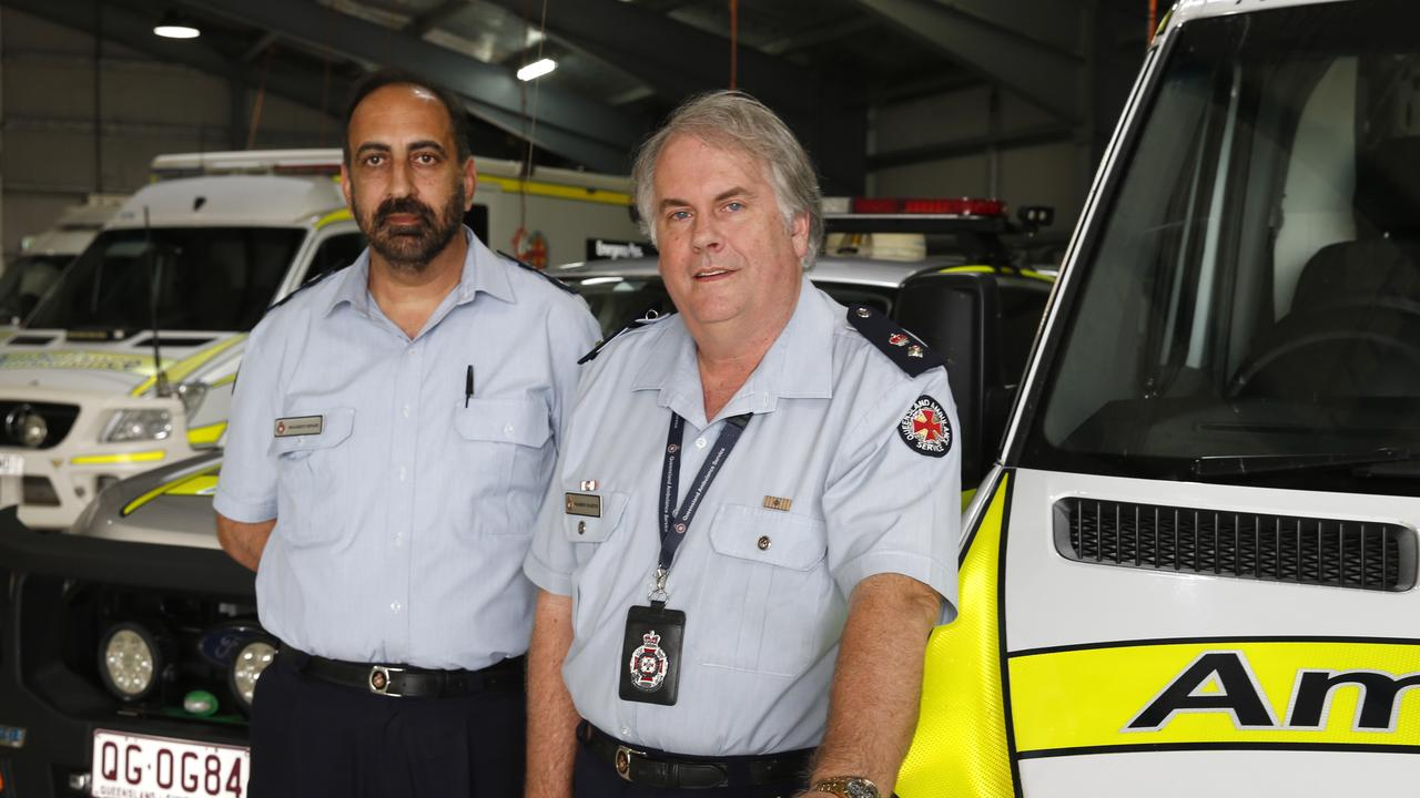 Senior Operations Supervisor with Cairns Ambulance Centre, Manjeet Singh and Superintendent for Torres Strait and Cape York Ambulance service, paramedic Warren Martin. PICTURE: ANNA ROGERS