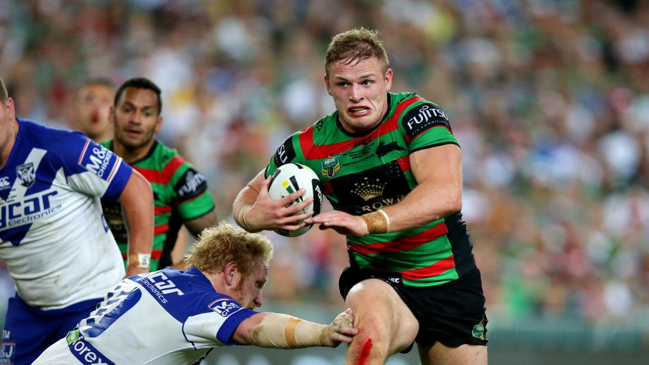 George Burgess scored a famous try in South Sydney's 2014 grand final win victory.