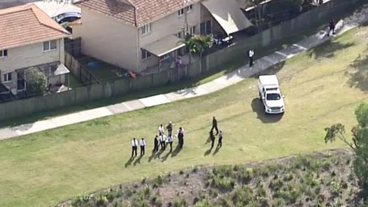 Police are conducing a search at Slacks Creek. Picture: Nine News Queensland