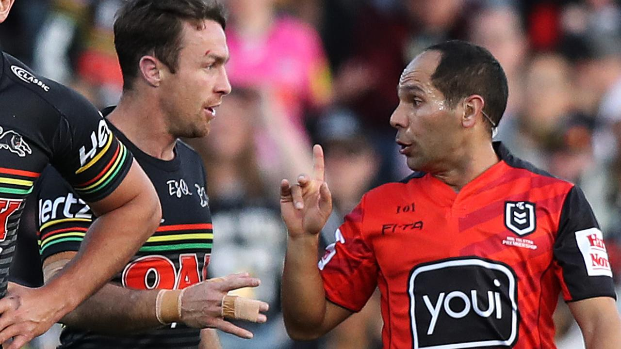 Referee Ashley Klein had his hands full with Penrith's James Maloney on Sunday - and copped it from Panthers' coach Ivan Cleary at halftime as well. Picture: Brett Costello